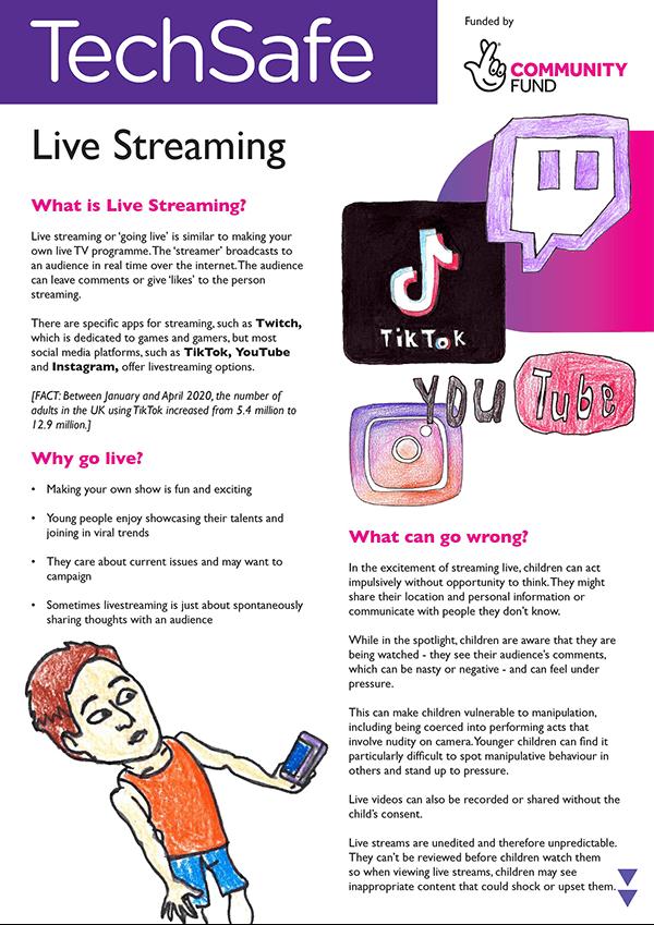 techsafe leaflet online safety live streaming guide
