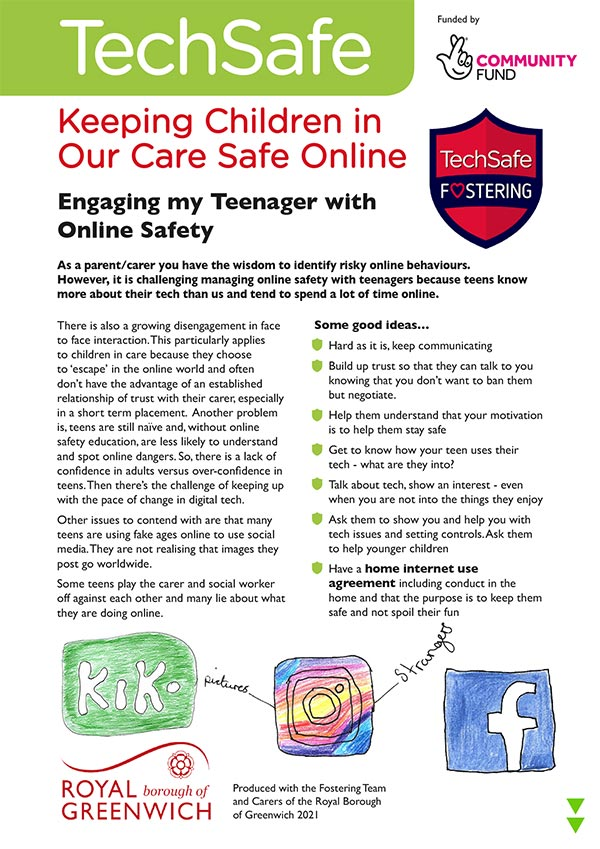 techsafe leaflet online safety foster arers guide